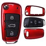 mt-key Klapp Schlüssel Cover Hülle AUDI A1 8X S1 A3 8P S3 A6 4F S6 Q7/Farbe: Metallic Rot