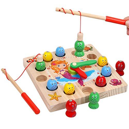 ESPLAY Hölzernes Form-sortierendes Uhr-Spielzeug mit Zahlen und Fischerei blockiert pädagogische Geschenke für Kinder