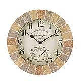 Outside & In Stonegate 5065030 - Wanduhr und Thermometer in Sandsteinoptik, 25 cm