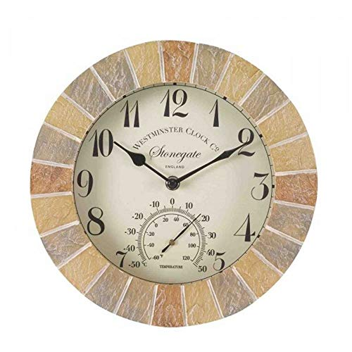 Outside & In Stonegate 5065030 - Wanduhr und Thermometer in Sandsteinoptik, 25 cm