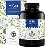 NATURE LOVE® MSM – 365 capsule (durano 6 mesi). Analisi di laboratorio. 1600 mg di polvere Metilsulfonilmetano. Senza additive. Alto dosaggio, vegano, prodotto in Germania.