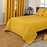 Homescapes waschbare Tagesdecke Sofaüberwurf Überwurfdecke Rajput sonnengelb 225 x 255 cm Ripp-Optik Bettüberwurf 100% reine Baumwolle