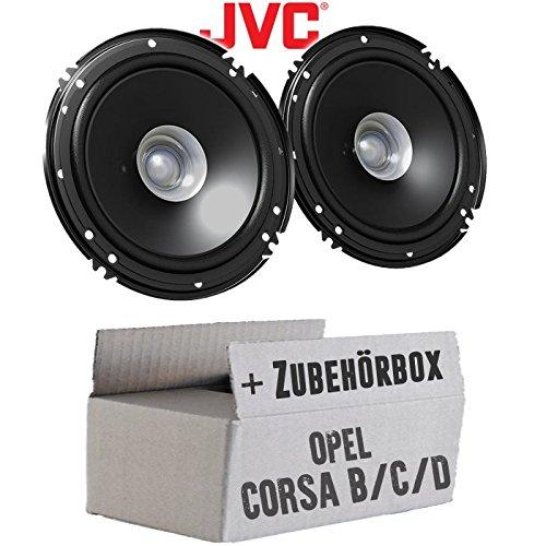 Opel Corsa B/C/D - Lautsprecher Boxen JVC CS-J610X - 16cm Auto Einbauzubehör 300Watt Koaxe KFZ PKW Paar - Einbauset - Auto-tür-lautsprecher