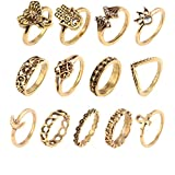 Neestudy 13 Pcs Boho Vintage Women's Ring Above The Knuckle Finger Tip Ring Set Silver Gold