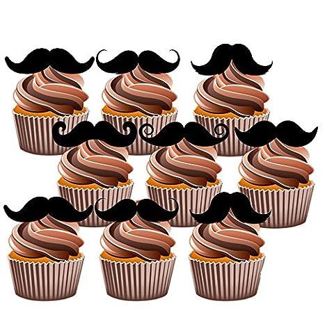 Fun Moustache pour gâteaux, Yummy Décorations comestibles pour goût vanille, 24