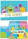 8 Einladungskarten incl. 8 Umschläge Kindergeburtstag Mädchen Jungen lustige Monster Einladungen Geburtstag Geburtstagseinladungen