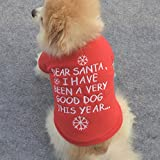 Hund Pullover, Legendog Warm Weihnachten Wintermantel Niedlich Gestickt Wintermantel Chihuahua Bekleidung Kleider für Kleiner Hunde Welpen Rot XS-L