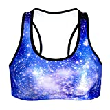 3D Galaxy Sport BH, Moresave Frauen Gepolsterte Yoga BHs Leichtathletik Fitness Stretch Workout Bustier Crop Top
