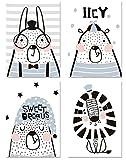 PICSonPAPER Kinder Poster 4er-Set Tiere, ungerahmt Din A4, Dekoration fürs Kinderzimmer im skandinavischen Stil, Tierposter, Illustrationen, Kinderposter, Kunstdruck, Geschenk (Ohne Bilderrahmen)