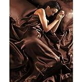 Parure de Lit Satin Marron Chocolat 6 pcs Housse de Couette 220x260 Taies Drap Housse lit 180 cm