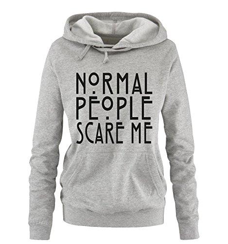 (Comedy Shirts - Normal People Scare Me - Damen Hoodie - Grau/Schwarz Gr. M)