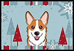 Carolines Treasures Winter Holiday Red Corgi Indoor or Outdoor Mat, 18 by 27, Multicolor