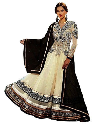 ZHot Fashion Women's Embroidered Semi-stitched Anarkali Salwar Suit In Georgette Fabric (ZHOND1001A) White And Black  available at amazon for Rs.599