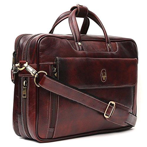 WildHorn 100% Genuine Leather Brown 15.5 inch Men's Laptop Messenger Bag Dimension : L-15.56 inch W-4 inch H-11 inch
