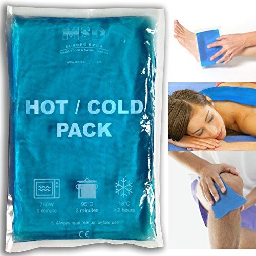 MSD Europe bvba - Bolsa de gel frío y caliente, reutilizable para doble uso, 25 x 35 cm, adecuada como bolsa de hielo y bolsa de agua caliente, transparente