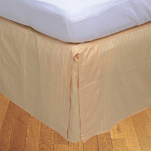 BudgetLinen Box Plissee Bed Rock (Valance Sheet)(Pfirsich Steifen,UK Doppel 135 x 190 cm (4 ft 6 in x 6ft 3in), Drop Length 30cm) 100% ägyptischer Baumwolle Premium Qualität 600 Thread Count (Plissee Pfirsich)