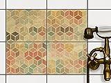 creatisto Fliesen-Folie Sticker Aufkleber selbstklebend | Fliesendekoration Dekorationssticker Badezimmer renovieren Küche Wall Art | 25x20 cm Design Motiv 3D Retro - 4 Stück