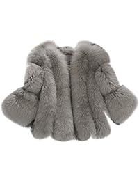 Cappottino in pelliccia sintetica, elegante, invernale, da donna. Stile aderente e con manica a 3/4, Grey, medium
