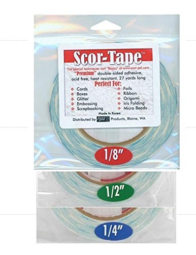 Scor-Tape Bundle 1 Each of 1/8', 1/4', 1/2', by 27 Yards (201, 202, 203) Double Sided Adhesive