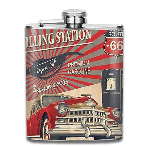 hdghgfjfghjd Edelstahlflasche Weinflasche Poster Style Image of Gasoline Station Gifts Top Shelf Flasks Stainless Steel Flask Wine Bottle Bar Flagon Set -