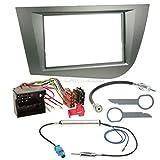 Seat Leon 1P 05-09 2-Din Autoradio Einbauset in Original Plug&Play Qualität mit Antennenadapter, Radioanschlusskabel, Zubehör und Radioblende/Einbaurahmen Anthrazit