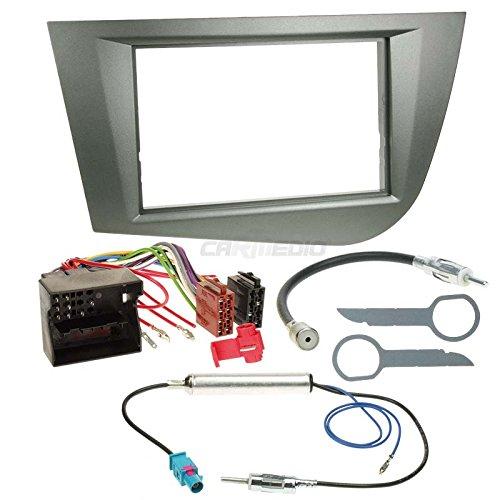 Carmedio Seat Leon 1P 05-09 2-DIN Autoradio Einbauset in original Plug&Play Qualität mit Antennenadapter Radioanschlusskabel Zubehör und Radioblende Einbaurahmen anthrazit