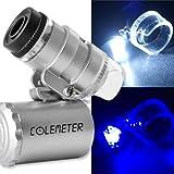 COLEMETER Mini Jeweler Loupe LED Light 60X Magnifier Microscope