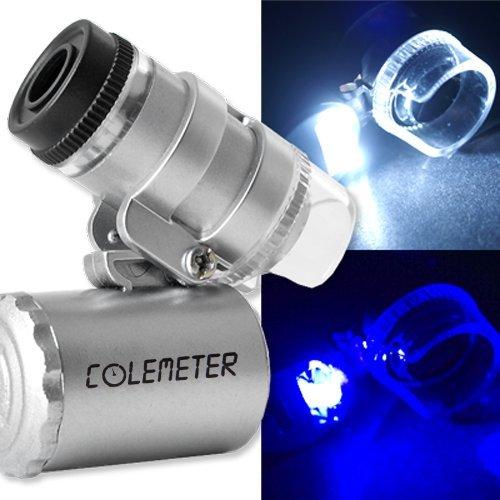 COLEMETER Mini Jeweler Loupe LED Light 60X Magnifier Microscope -