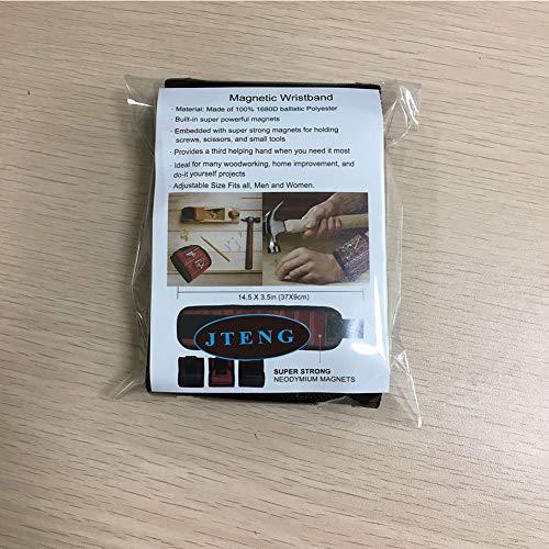 JTENG Magnetische Armbänder, Magnetarmband mit 10 leistungsstarken Magneten Magnet Armbänder verstellbares Klettband zum Halten von Werkzeugen, Schrauben, Nägel, Bohren Bits und Kleinwerkzeuge - 7
