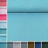 MAGAM-Stoffe ''Anni'' Ringel-Bündchen | 12 Farben | Feinstrick Bündchen-Stoff Öko-Tex Qualität | Meterware ab 50cm | QX (Grau-Türkis)
