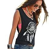 Damen Shirt Kurzarm Ronamick Sexy Frauen Dreamcatcher Printed Ärmellose Tops Crop Tank Weste Shirt Tee