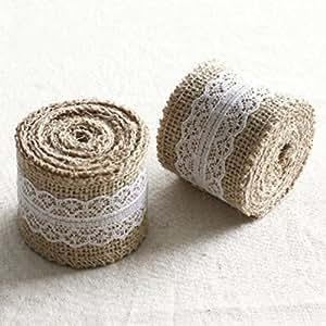 Rzctukltd 5M Natural Jute Burlap Hessian Ribbon with Lace Trims Tape Rustic Wedding Decor