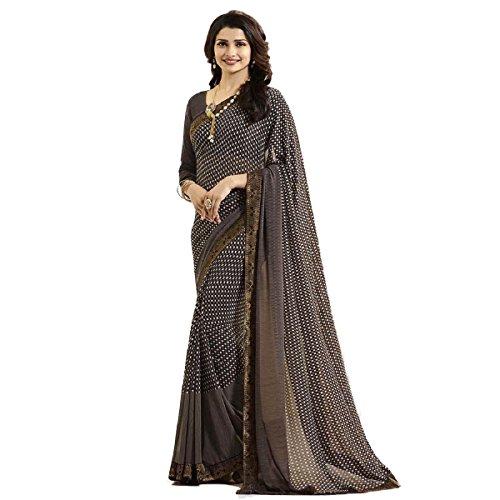 Hinayat Fashion Brown Chiffon Silk Saree HNT540