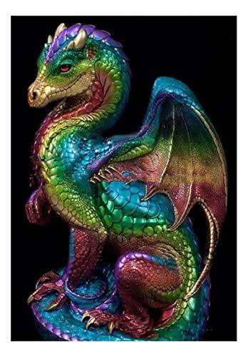CJGD DIY Kunst EIS Und Feuer Song Room Fire Dragon 5D Diamant Malerei Kreuzstich Muster Wandaufkleber Set Mosaik Stickerei Malerei Kristall Handwerk, 55 * 83 cm