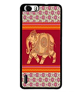 PrintDhaba Elephant D-5799 Back Case Cover for HUAWEI HONOR 6 (Multi-Coloured)