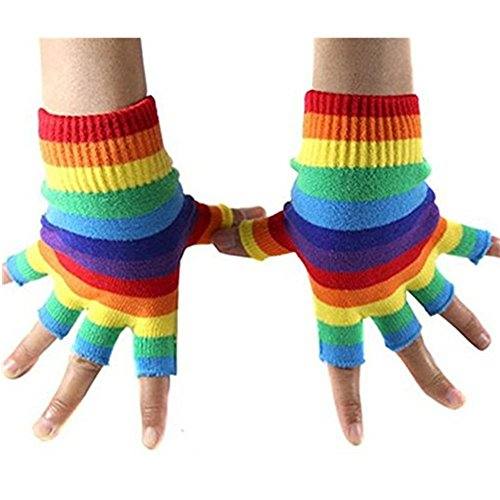 Jelinda Regenbogen-Streifen Fingerlose Handschuhe und Strümpfe Socken Handstulpen Strick Armstulpen für Damen Mädchen Karneval Weihnachten Kostüm (Handschuhe (Handschuhe Fingerlose Rainbow)