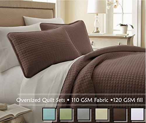 Southshore Fine Linens? 3 Piece Oversized Quilt Set - Chocolate Brown FULL / QUEEN by Southshore Fine Living, Inc.