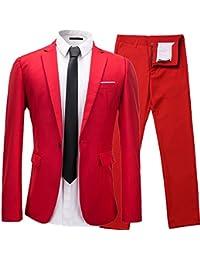 Herren Anzug 2 Teilig Slim Fit 1-Knopf mit Anzugjacke Sakko Anzughose Business Smoking Hochzeitsanzug von Harrms,9 Farben, Größe 46-56