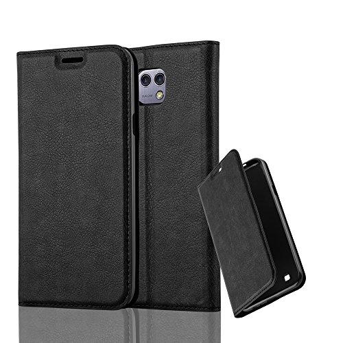 Cadorabo Hülle für LG X CAM - Hülle in Nacht SCHWARZ – Handyhülle mit Magnetverschluss, Standfunktion und Kartenfach - Case Cover Schutzhülle Etui Tasche Book Klapp Style