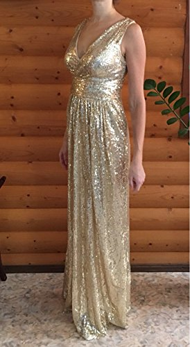 Aiyana ärmellos Gold Brautjungfer Kleid Party kleid Langes Promkleider Langes Dame Elegantes V-Ausschnitt Abendkleid mit Pailletten Marine