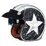 LIDMOTO Motorradhelme Motocross klassischen Vintage-Stil für Erwachsene Männer Frauen,Team-Leader,L