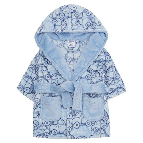 Baby Bademantel super weich Plüsch Fleece von 6 Monate bis 18 Monate Junge oder Mädchen - blaues Auto Druck, 80-86