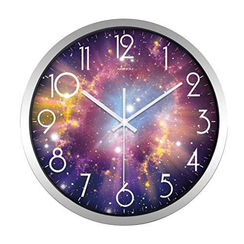 Everyday home Grande horloge murale décorative - Quartz Sweep - Couvercle en verre - Cadre métallique rond de 12/14 po - à piles (Couleur : Silver, taille : 14 inches)