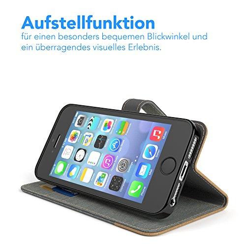 Apple iPhone SE / 5S / 5 Tasche, EAZY CASE Book-Style Case Metallic, Premium Handyhülle mit Kartenfach, Schutzhülle Geldbeutel mit Standfunktion, Wallet Case in Silber Metallic Hellgrau - Denim