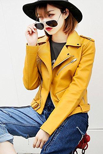 Les Femmes Des Manches Longues Zipper Pu Slim Extérieur De La Tenue De Cuir Avec Ceinture Veste De Motard yellow