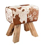 Sitzhocker 'BOCK' Fellbezug, Beine aus Teak Naturholz - 40x45 cm - #36641