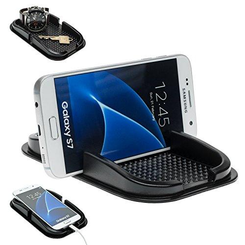 Mobilefox KFZ Anti-Rutsch Matte Handy Halterung für Samsung Galaxy S10 S10+ S10e S9 S8 S7 S6 S5 S4 A3 A5 A7 Mini Edge Note Schwarz