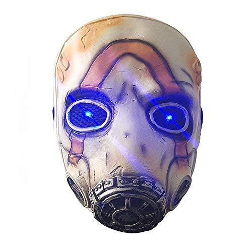 CHENGL Halloween-Party-Maske,Spiel Borderlands 3 Psycho Cosplay Maske Vollgesichtslatex LED-Licht Erwachsene Requisiten Kostüm Party Halloween Kostüm (Keine Kostüm Meme)