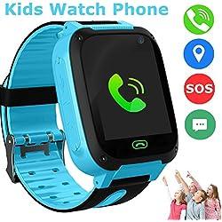 Reloj Niños Smartwatch LBS/GPS Pantalla Táctil Kids Safe Anti-pérdida SOS para Android e iOS Smartphone (Blue-S4)