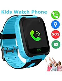 bhdlovely Kids Smart Watch Phone, LBS/GPS Tracker Smart Watch for 3-12 Year Old Boys Girls with SOS Camera Sim Card Slot Touch Screen Game Smartwatch Outdoor Activities Toys Birthday (Blue)